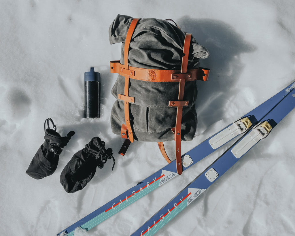 Taking the Parva Rucksack out skiing on Mt.Hood. Orox Leather goods are great company on outdoor adventures!