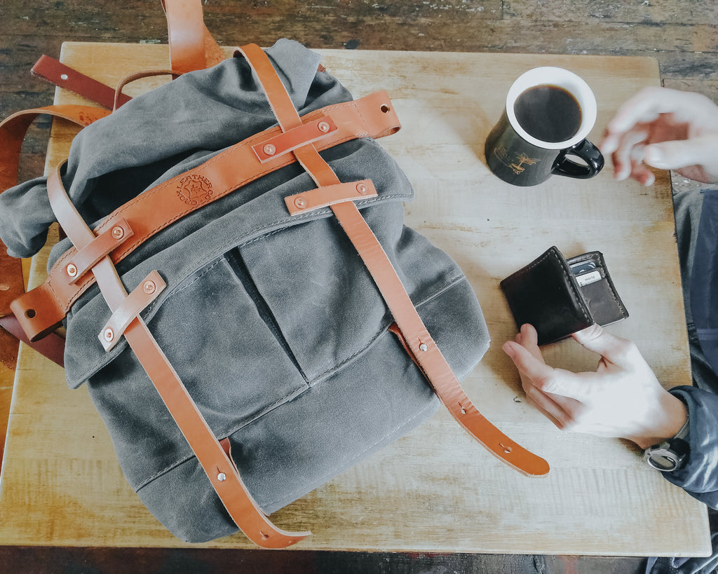 Taking the Parva Rucksack out to a coffee shop in Portland. Orox Leather goods are great company on outdoor adventures!