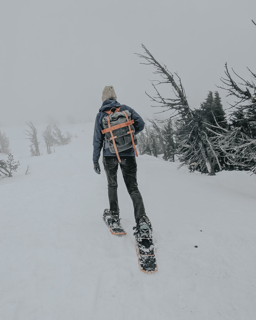 Taking the Parva Rucksack out snowshoeing in Bend. Orox Leather goods are great company on outdoor adventures!