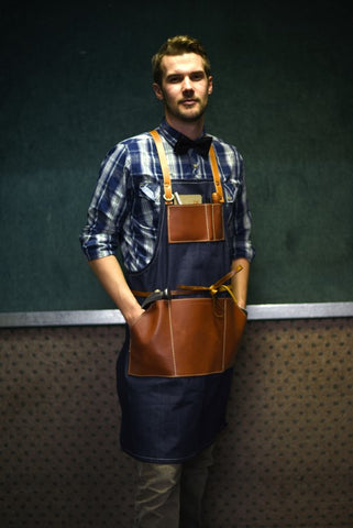 Orox Handcrafted Leather Goods - we use the best denim with our handmade leather aprons and bags