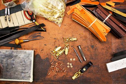 Orox Handcrafted Leather Goods - we work with Clandenin Brother copper clasps to make the best handmade leather products look great