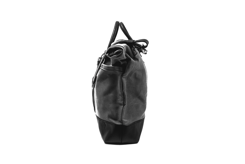 Leather and Canvas Bicycle Pannier - Black on Black