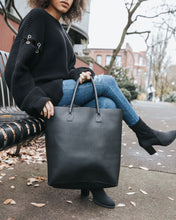Black Hand-Crafted Full Leather Large Tote Bag