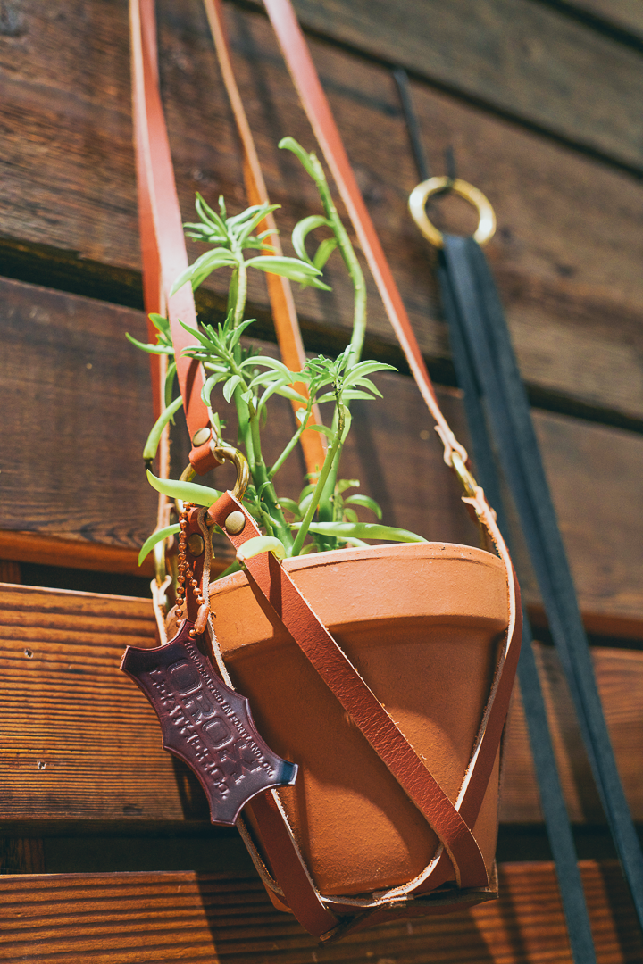 Leather Plant Holder - Tan