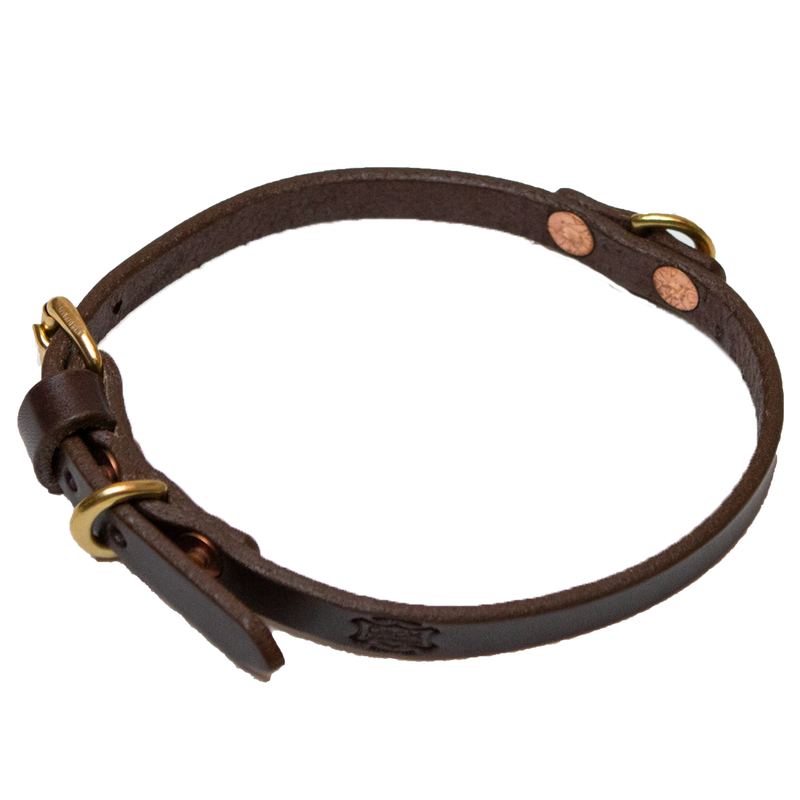 "1/2"" Classic Leather Collar (For Small Dogs) - Brown"