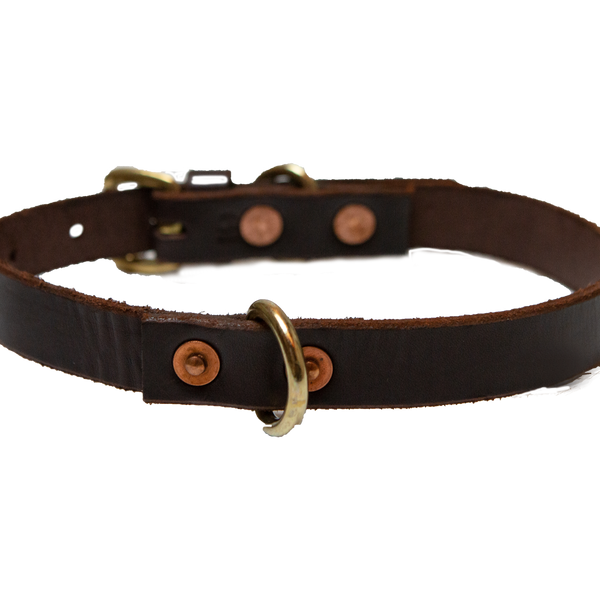 "3/4"" Classic Leather  Collar (For Medium Dogs) - Brown"