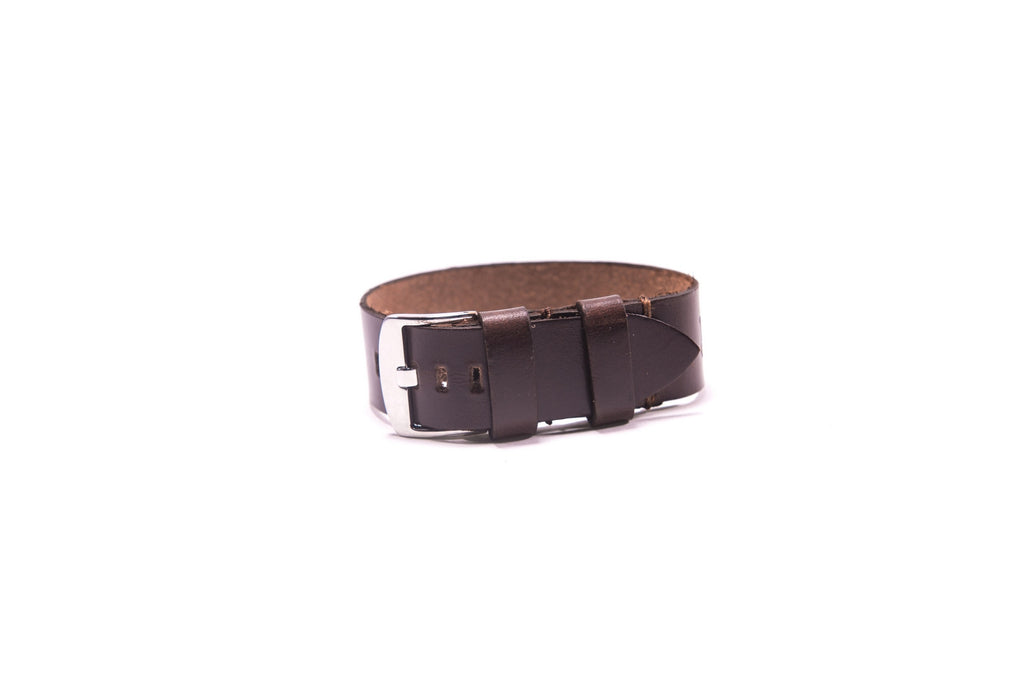 Brown Leather Single Strip Watchband