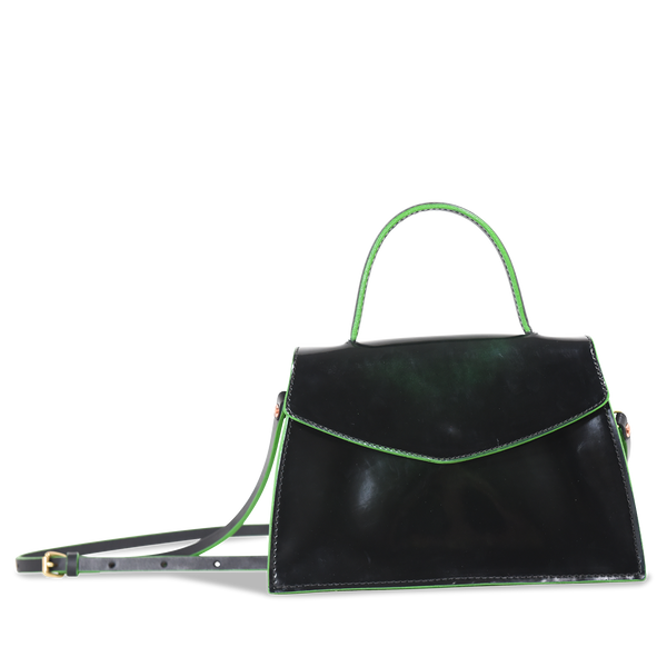 Hand crafted shiny leather handbag purse with high quality luxury craftsmanship made to last a lifetime, made for women  in fashion.