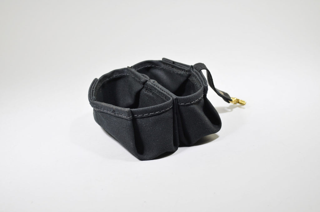 Nibble & Go Pet Bowl - Black Leather & Waxed Canvas