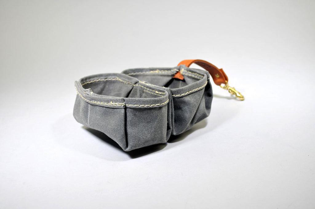 Tan Leather & Waxed Grey Canvas Nibble & Go Pet Bowl