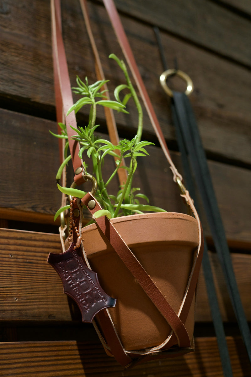 Leather Plant Holder - Brown