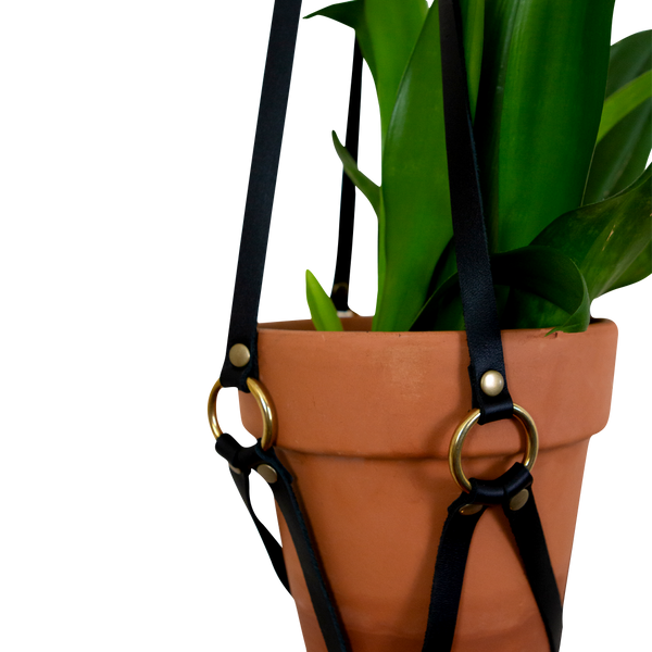 Leather Plant Holder - Black