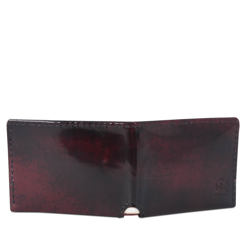 Hand crafted shiny leather wallet with high quality luxury craftsmanship made to last a lifetime, made for men and women to stay organized in fashion.