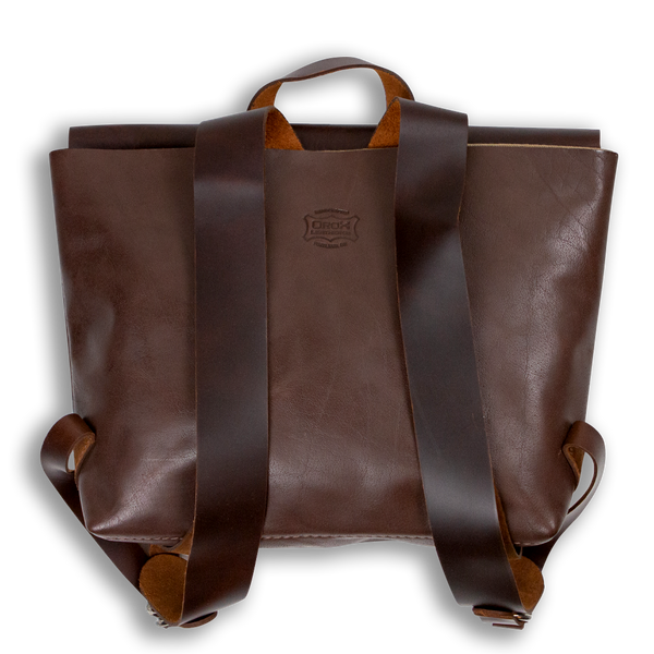 Leather Satchel Backpack - Brown