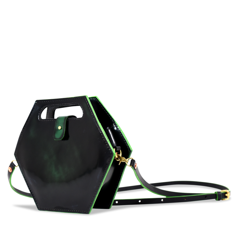 Hand crafted shiny leather crossbody purse with high quality luxury craftsmanship made to last a lifetime, made for women  in fashion.