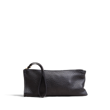 Orox Soft Black Leather Zippered Clutch