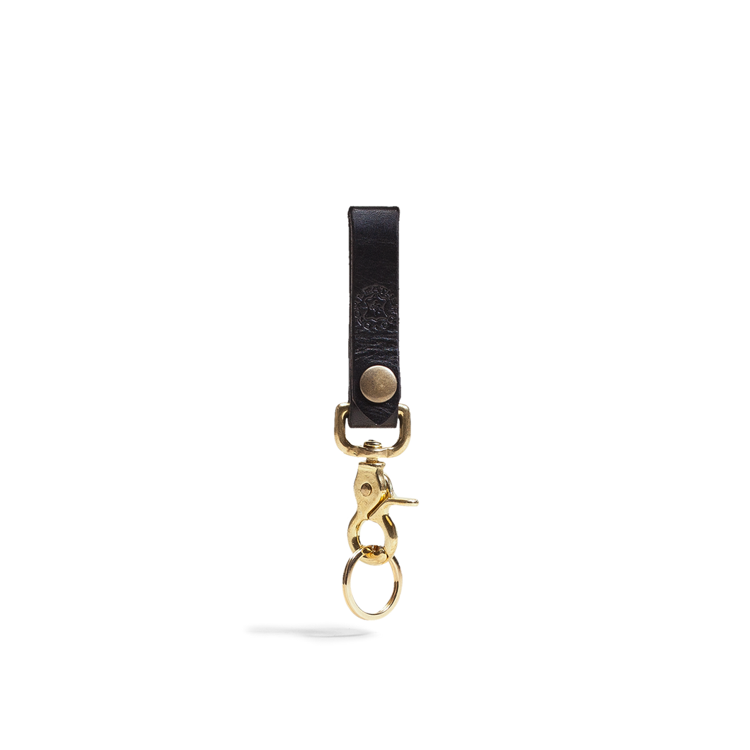 Orox Black Leather Keychain with Brass Hardware