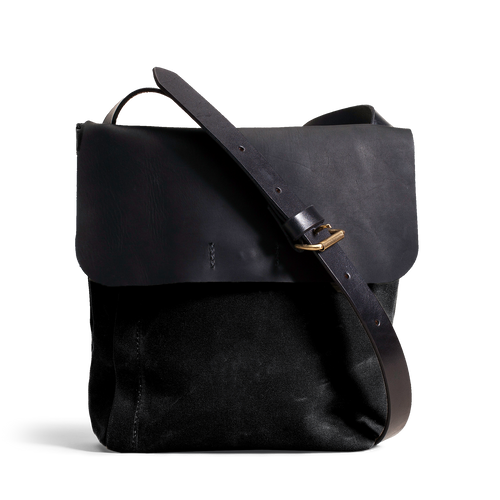 Orox Black Leather and Black Canvas Satchel