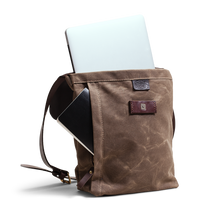 Orox Brown Leather and Brown Canvas Satchel