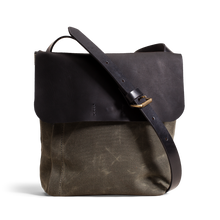 Orox Black Leather and Green Canvas Satchel