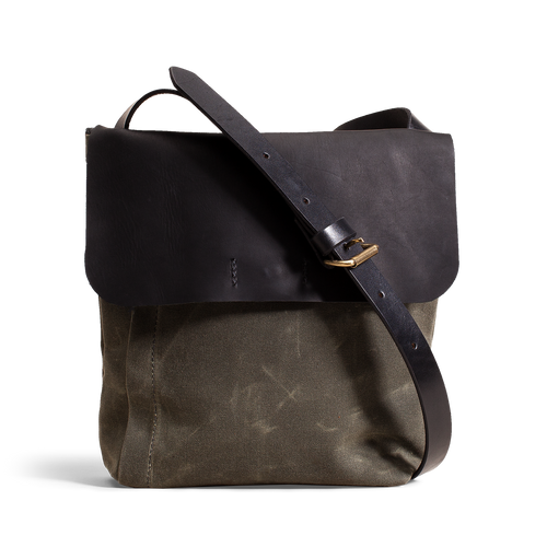 8a9e06d10 Orox Black Leather and Green Canvas Satchel