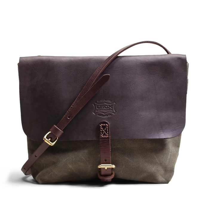 Orox Brown Leather and Green Canvas Satchel