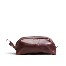 Hand crafted leather mens dopp kit with high quality luxury craftsmanship made to last a lifetime, made for men who travel.