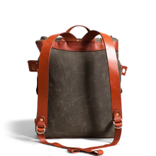 Orox Chestnut Leather and Green Canvas Rucksack