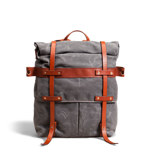 Orox Chestnut Leather and Grey Canvas Rucksack