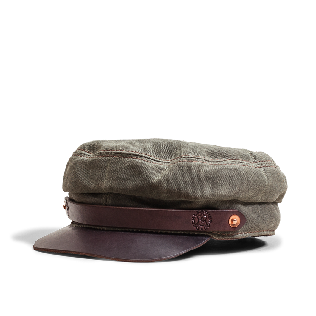 Orox Green Canvas and Brown Leather Hat