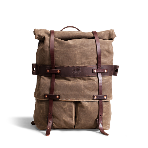 Orox Large Brown Leather and Brown Canvas Rucksack