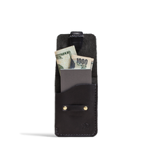 Orox Black Leather Vertical Cardholder