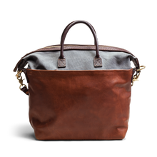Orox Tan Leather and Grey Canvas Tote