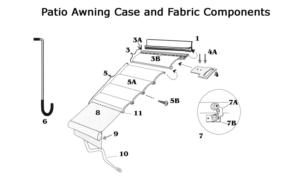 Zip Dee Patio Awning Case and Fabric Components - Woodland ...