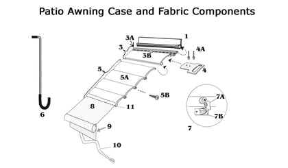 Zip Dee Patio Awning Case and Fabric Components