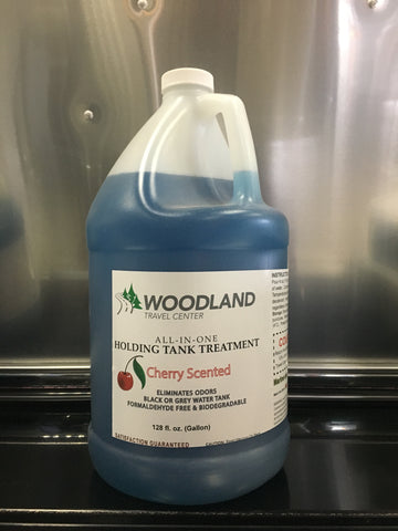 Woodland Travel Center All-In-One Holding Tank Treatment, Cherry Scent - 128 oz / 1 Gallon