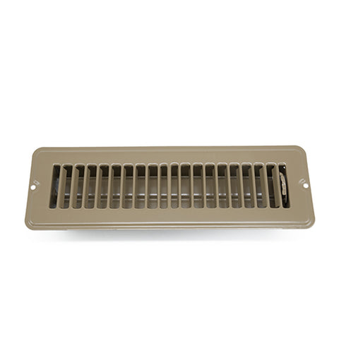 "2"" x 10"" Dampered Floor Register, Brown"
