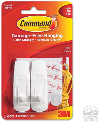 3M 17001ES Command 3 lb. Adhesive Hooks White Medium, 2 hooks, 4 strips