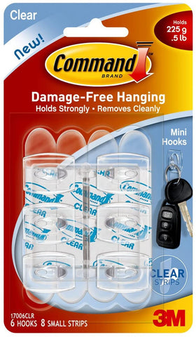 3M 17006CLR-ES Command Clear Mini Hooks, 6 Hooks, 8 Strips