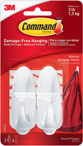 3M 17081ES Command Designer Hooks, Medium, White, 2-Hooks, 4 Strips