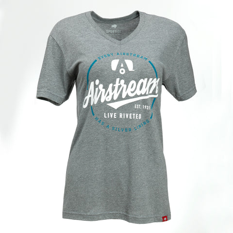 "Airstream ""Silver Lining"" V-Neck Tee for Women - Grey"