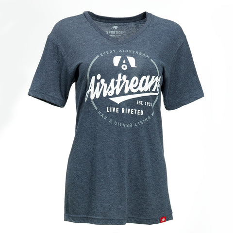 "Airstream ""Silver Lining"" V-Neck Tee for Women - Denim Blue"