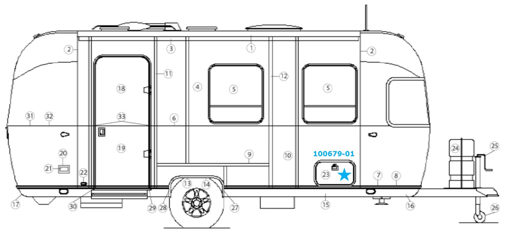 Airstream Side Access Compartment Door Assembly, With Jamb