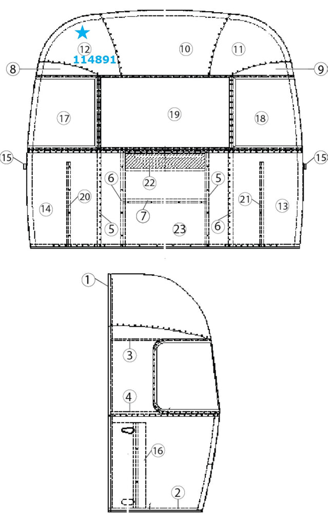 Airstream Rear Upper Middle Roadside/ Front Upper Middle