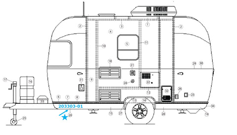 Banana Wrap, Black Roadside Front for Airstream Bambi Sport 16' and 22' - 203303-01