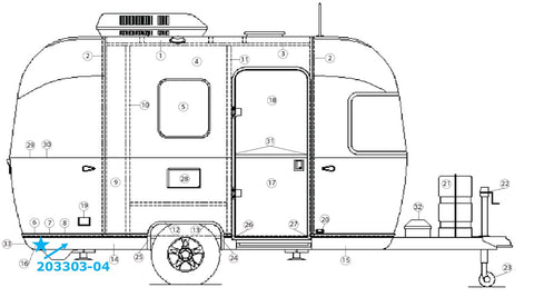 Banana Wrap, Black Curbside Rear for Airstream Bambi Sport 16' and 22' - 203303-04