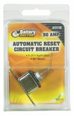 Battery Doctor Auto Reset Circuit Breaker w/Right Angle Bracket, 50A