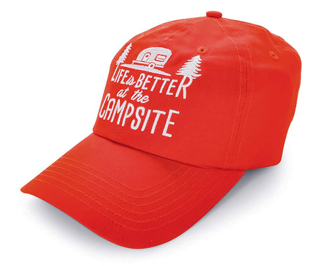 Camco Life is Better at the Campsite One-Size Hat with Adjustable Strap, Red Orange