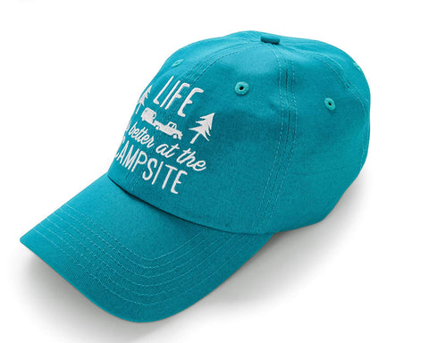 Camco Life is Better at the Campsite One-Size Hat with Adjustable Strap, Teal