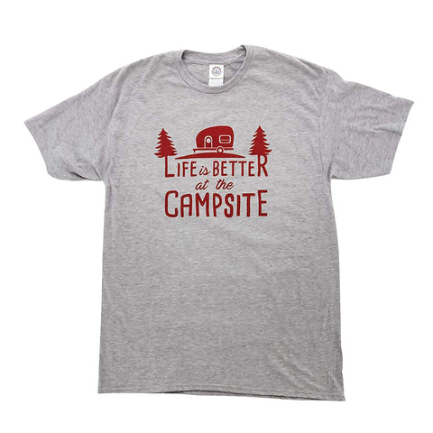 Camco Life is Better at the Campsite Grey Short Sleeve Crew Neck T-Shirt, XX-Large
